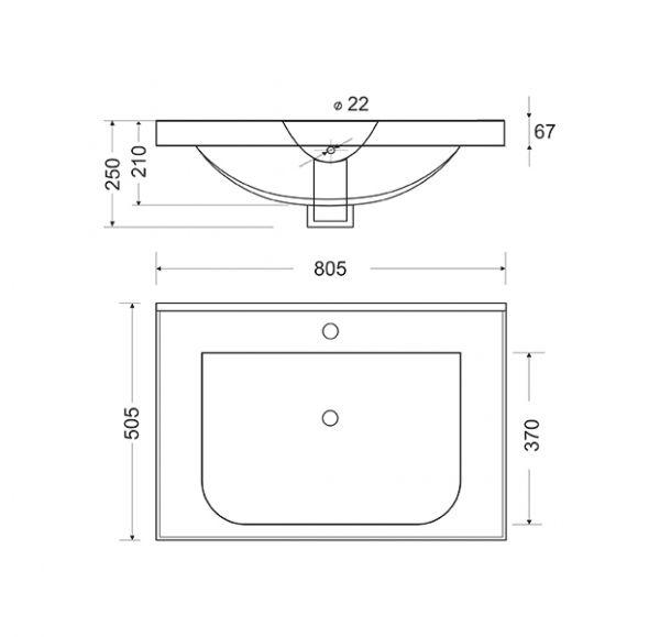 чертеж раковины для soho qudro 80 тумба.