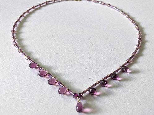 """""""Mauve Droplets"""" necklace"""