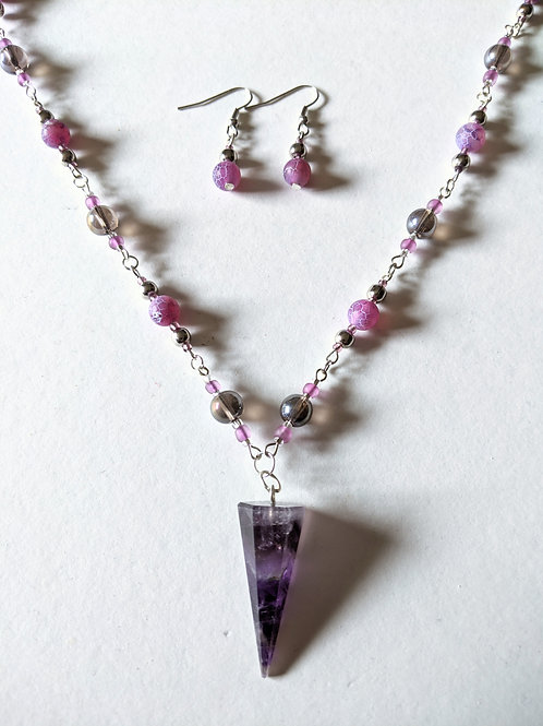 """Lilac Drop"" necklace & earring set"