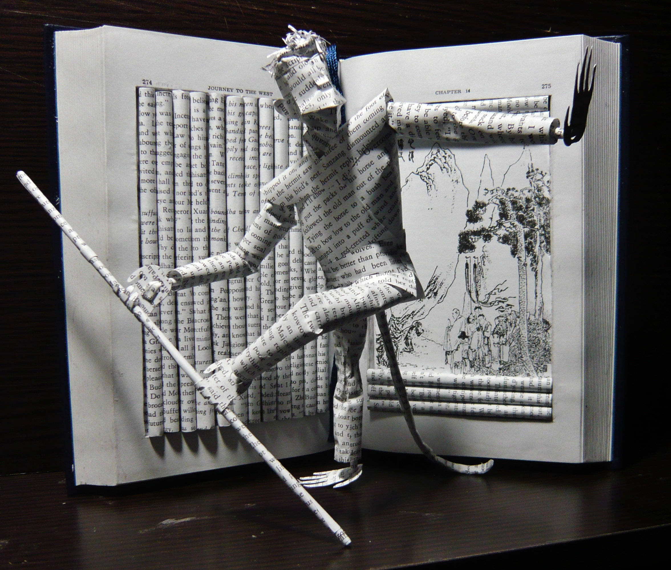 """Journey to the West"" book sculpture"
