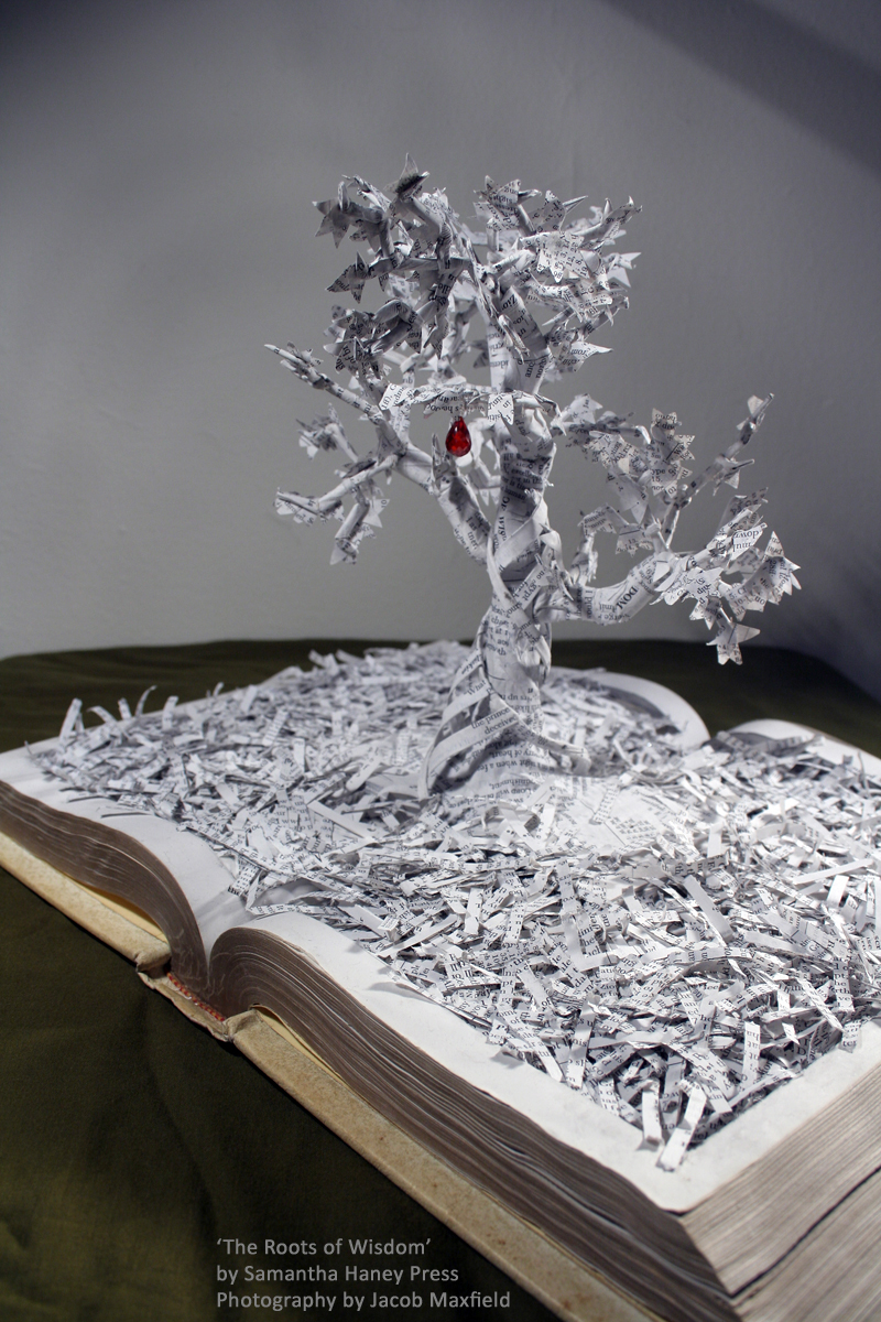 """The Roots of Wisdom"" book sculpture"