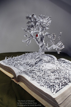 """""""The Roots of Wisdom"""" book sculpture"""