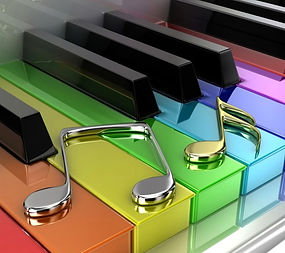 Colorful piano keys with rhythm notes.