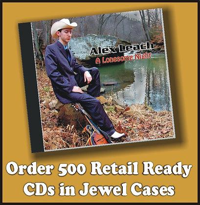 500 Retail Ready CDs in Jewel Cases w/poly wrap