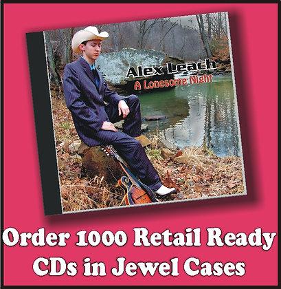 1000 Retail Ready CDs in Jewel Cases w/poly wrap