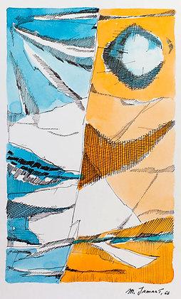 Michel Jamart - Gouache, 1966 - Reproduction 24 x 36 cm