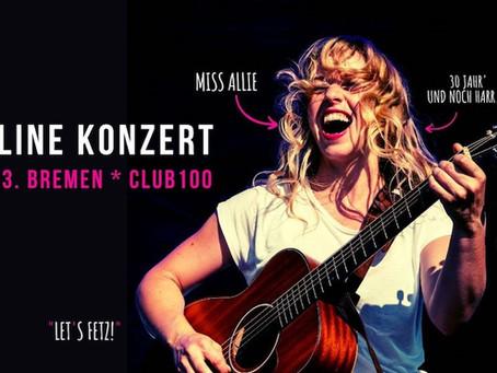 Miss Allie spielt Online Konzert im Club100