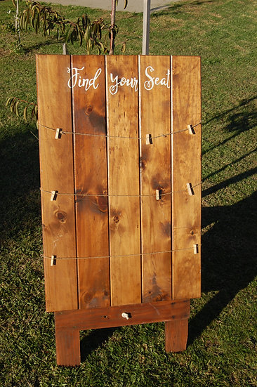 """""""Find your seat"""" Rustic table seating display"""