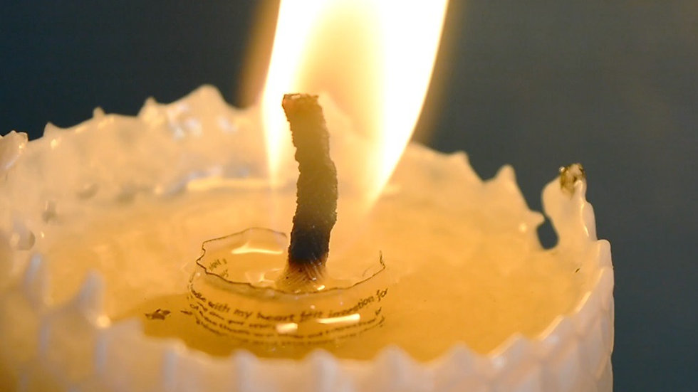 """""""In Loving Memory"""" Beeswax Candle is as unique as your loved one."""