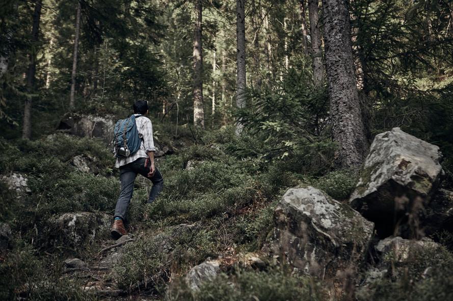 Man Hiking in Wilderness