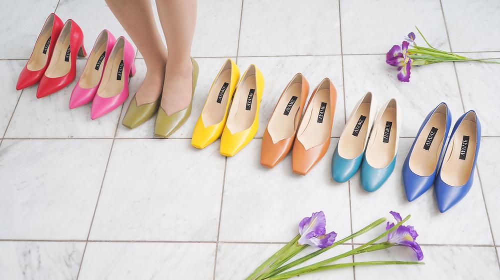 オーダーメイド靴AYAMEのパンプスはあなたの足に合わせて作るからサイズ選び不要で、好きな色が選べます