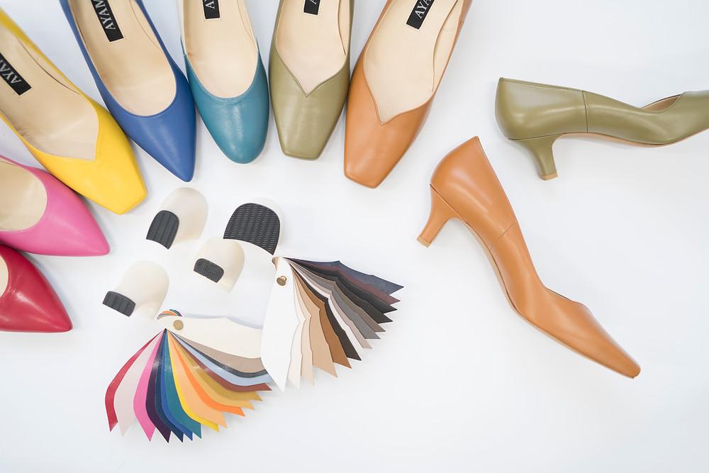 オーダー靴のAYAMEでは、好きなヒールの形や革のカラーを選ぶ事ができます。サイズは無制限、左右差のあるパンプスもお造りできます。