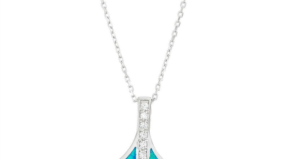 Sterling Silver Blue Inlay Opal and CZ Whale Tail Pendant
