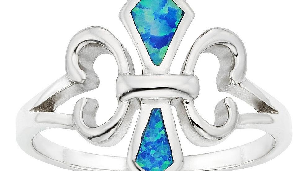 Opal inlay in Sterling Fleur de Liz