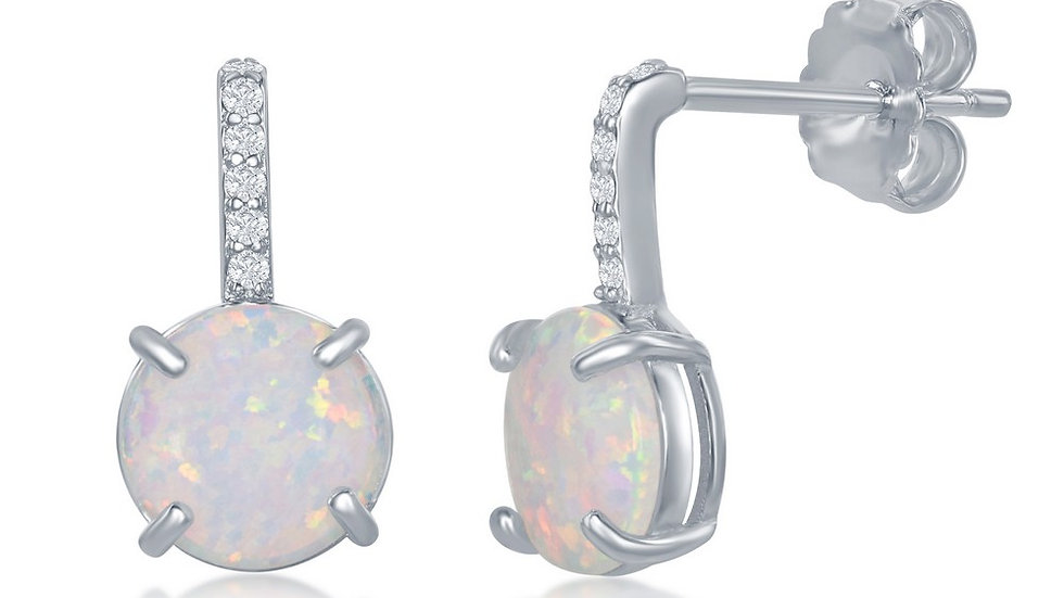 Sterling Silver CZ Bar Prong Round White Opal Earrings