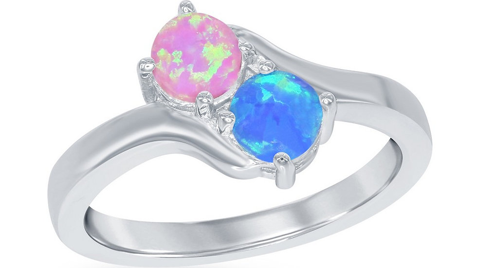 Opal inlay in Sterling Pink and Blue