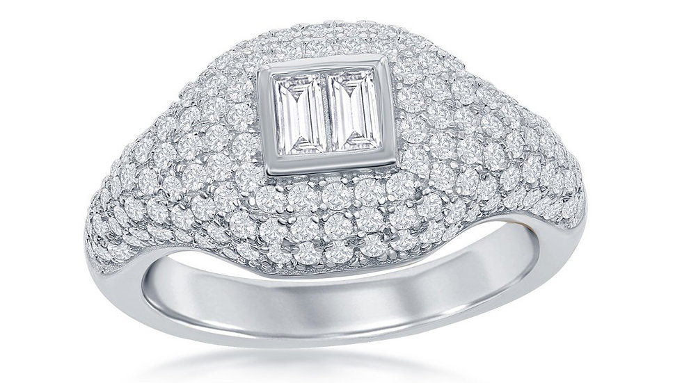 Sterling Silver Micro Pave Center Double Baguette Ring