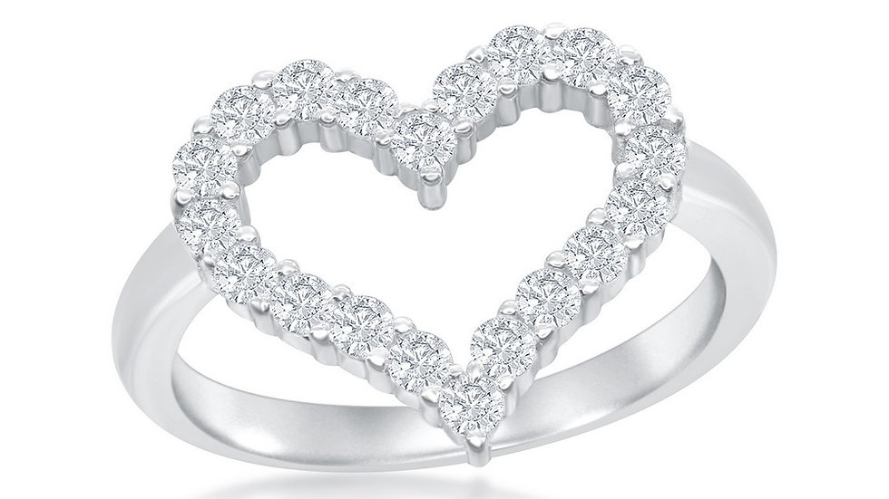 Sterling Silver Open Heart Cubic Zirconia Ring