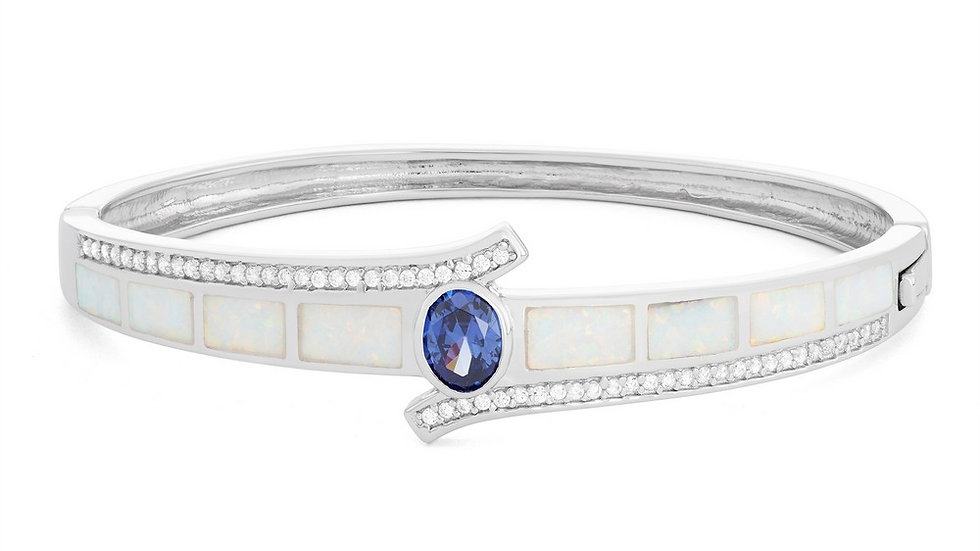Sterling Silver White Inlay Opal and CZ with Center Oval Tanzanite CZ Bangle