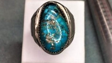 Heavy Men's Old Pawn Turquoise Ring