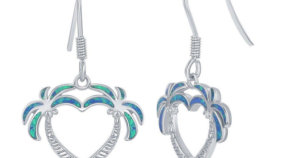 Sterling Silver Blue Inlay Opal Two Palm Trees Heart Earrings
