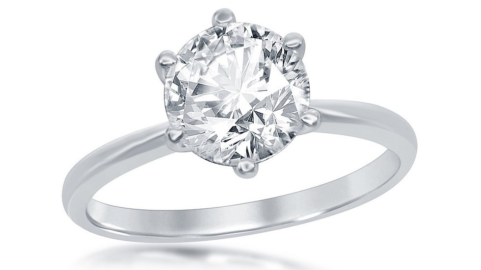 Sterling Silver Six-Prong Solitaire CZ Engagement Ring