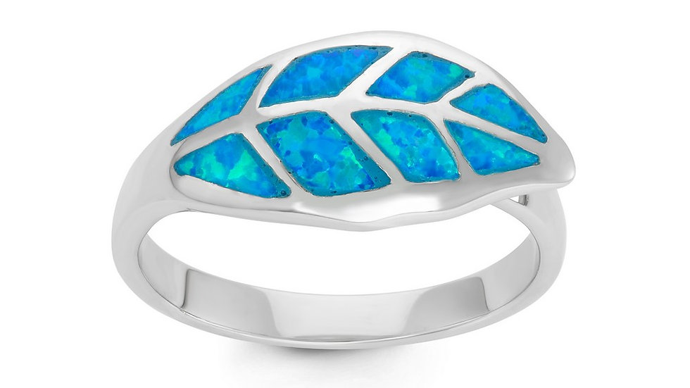Sterling Silver Blue Inlay Opal Leaf Ring