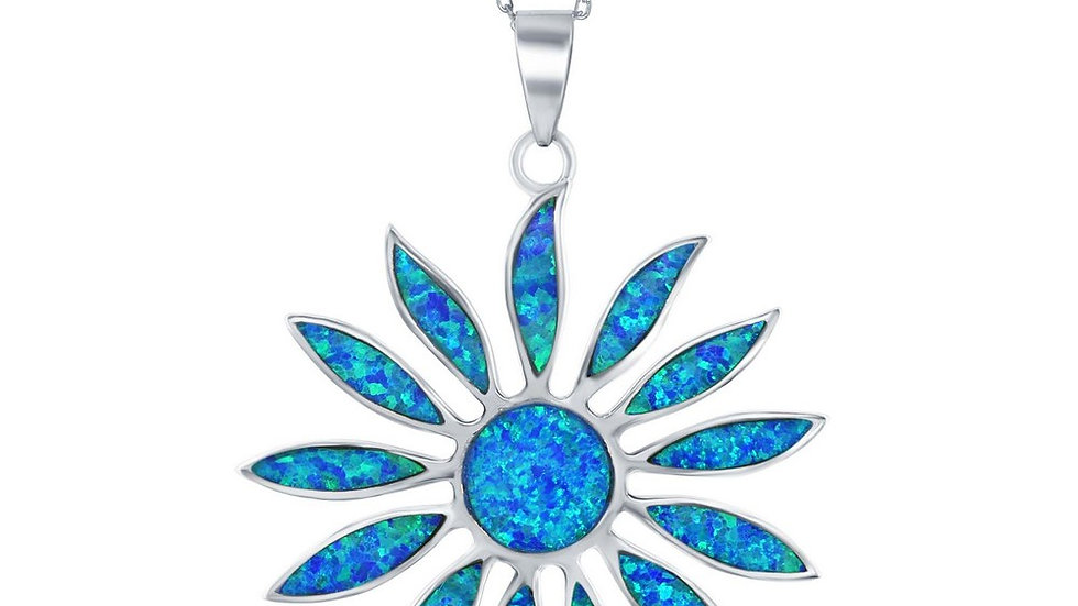 Sterling Silver Large Blue Inlay Opal Daisy Flower Pendant