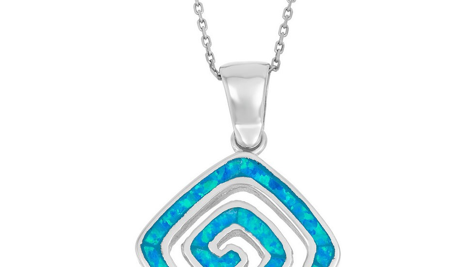 Opal inlay in Sterling Geometric