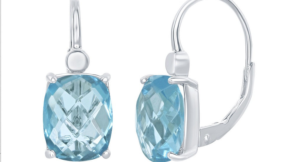 Sterling Silver Four-Prong Checkered 7.7cttw Blue Topaz Earrings