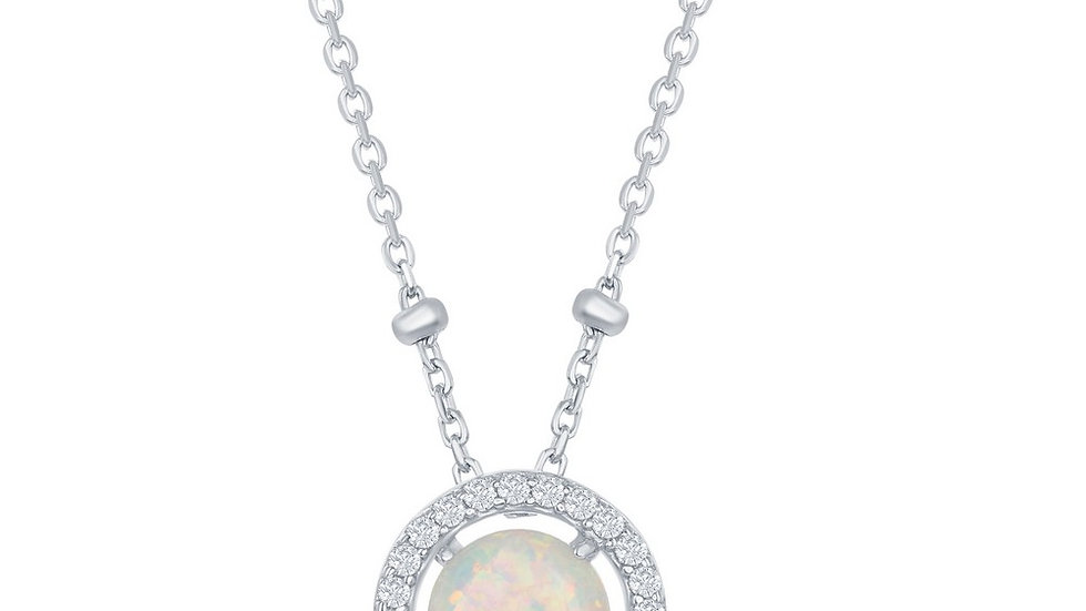 Sterling Silver Round White Opal with CZ Halo Beads by The Yard Necklace