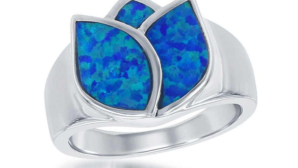 Sterling Silver Blue Inlay Opal Rose Ring