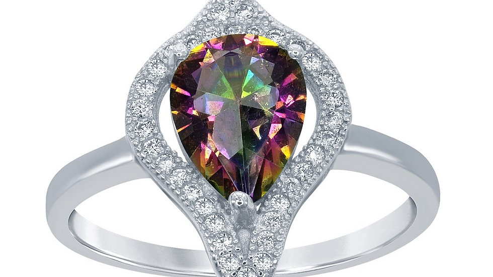 Sterling Silver Large Teardrop Simulated Rainbow with CZ Border Ring