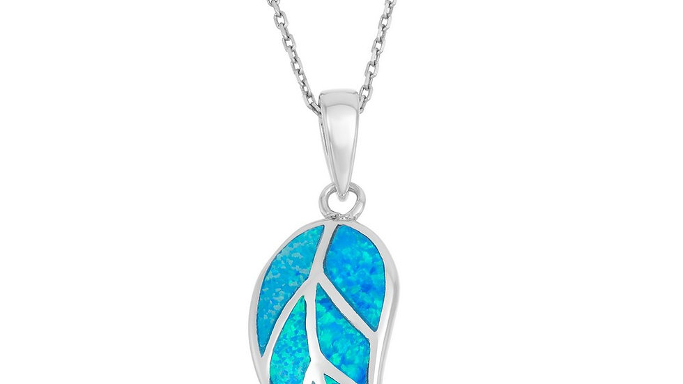 Sterling Silver Blue Inlay Opal Leaf Pendant