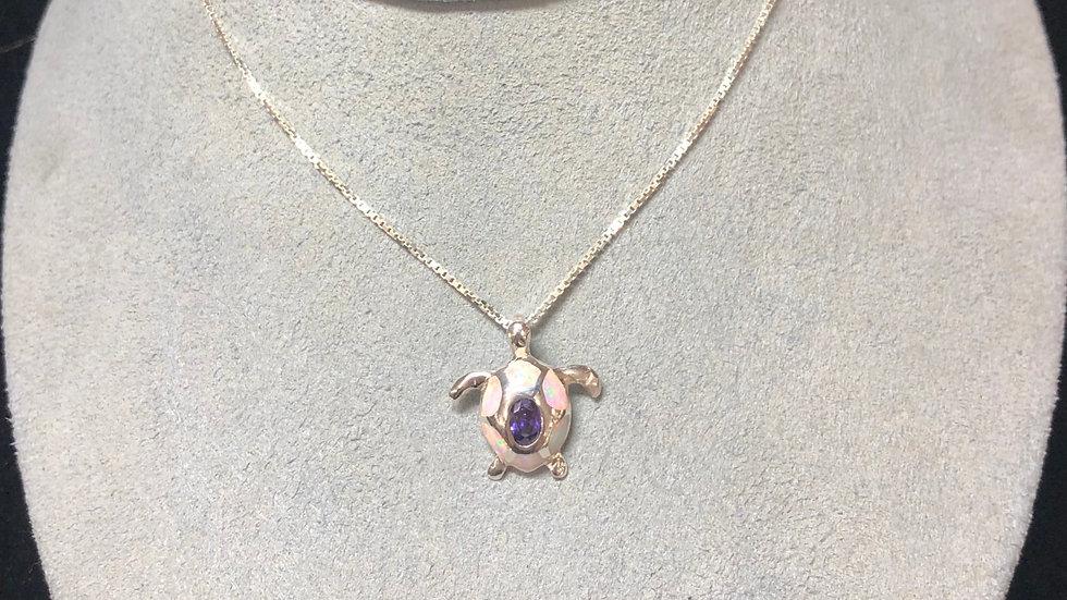 Sterling Silver Opal Amethyst Turtle