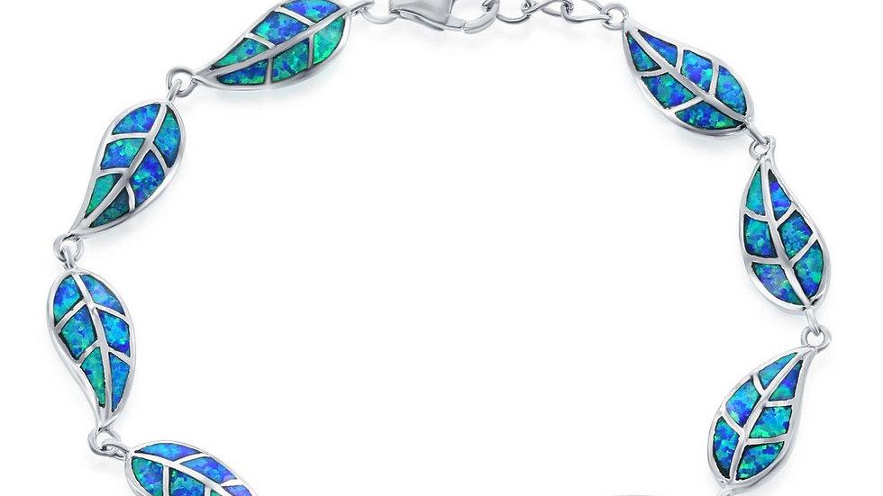 Sterling Silver Blue Inlay Opal Linked Leafs Bracelet