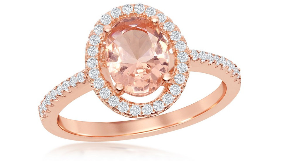 Sterling Silver Oval Morganite CZ with White CZ Border Ring