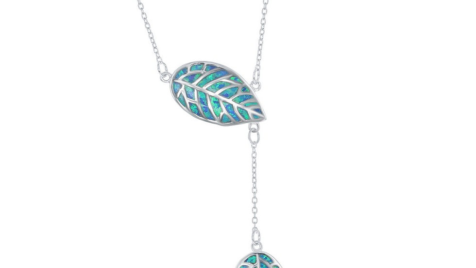 Stelring Silver Blue Inlay Opal Leaf with Hanging Leaf Lariat Neckalce