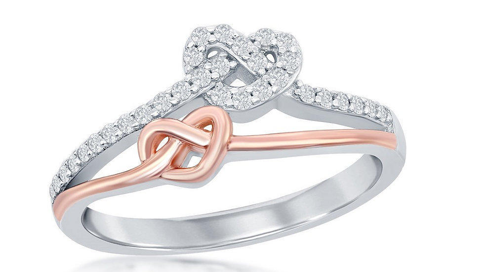 Sterling Silver Two-Tone Rose Gold Plated Love Knot Heart Micro Pave Ring