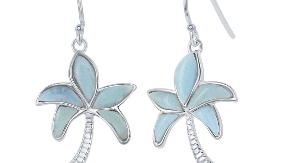 Sterling Silver Larimar Palm Tree Earrings