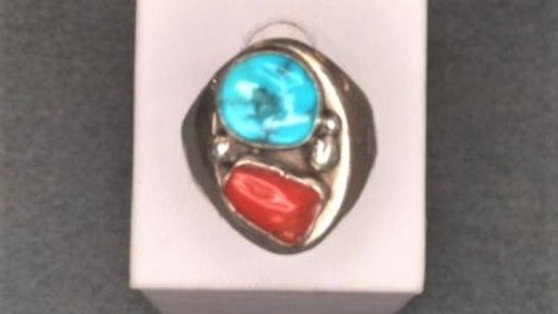 Old Pawn Turquoise and Coral Ring