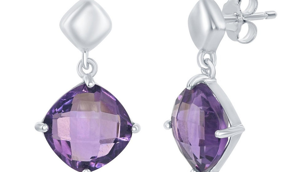 Sterling Silver Four-Prong Amethyst Cushion-Cut Square Dangle Earrings