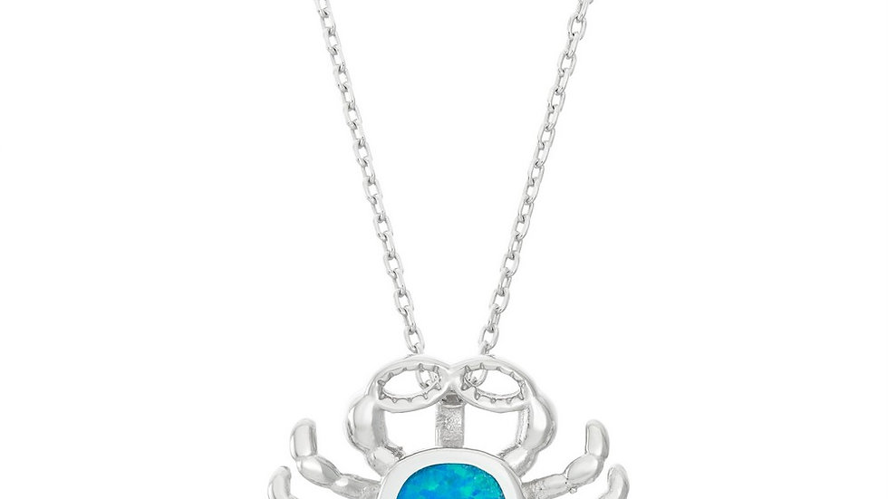 Sterling Silver Blue Inlay Opal Crab Pendant