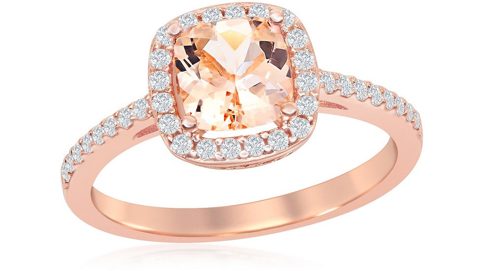 Sterling Silver Square Morganite CZ with White CZ Border Ring - Rose Gold Plat