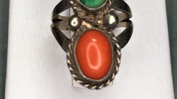 Small Sized Green Turquoise and Coral Ring