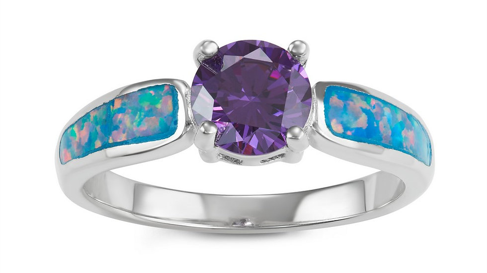 Opal inlay in Sterling with Amethyst CZ