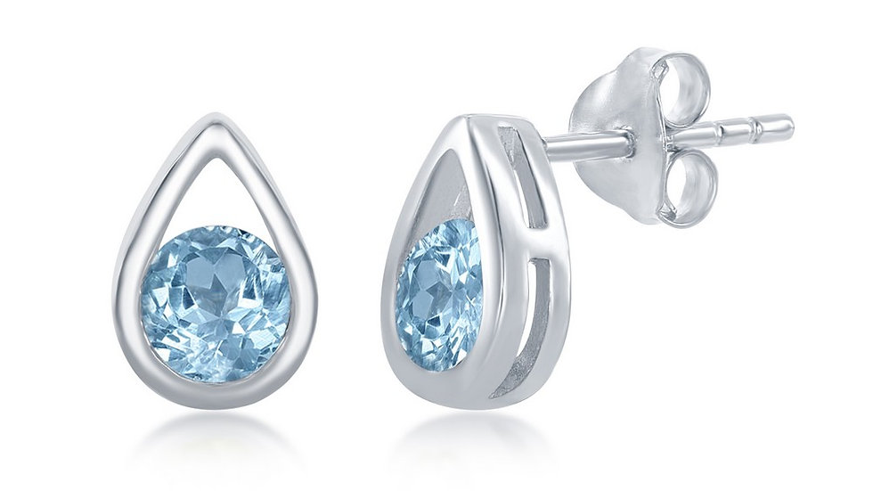 Sterling Silver Open Pearshaped Round Blue Topaz Stud Earrings