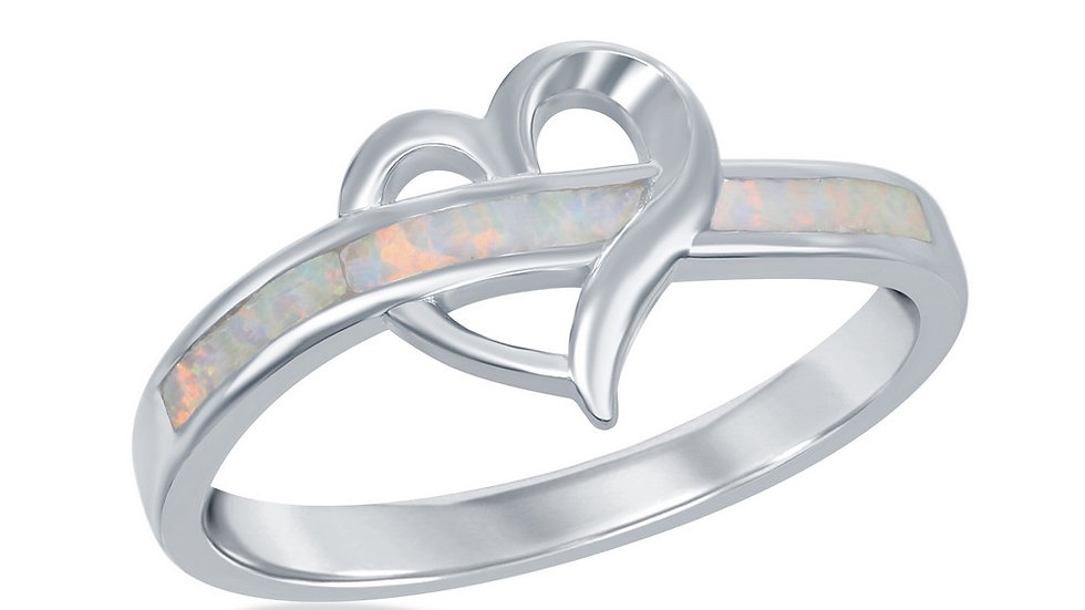 Opal inlay in Sterling White Tiny Heart