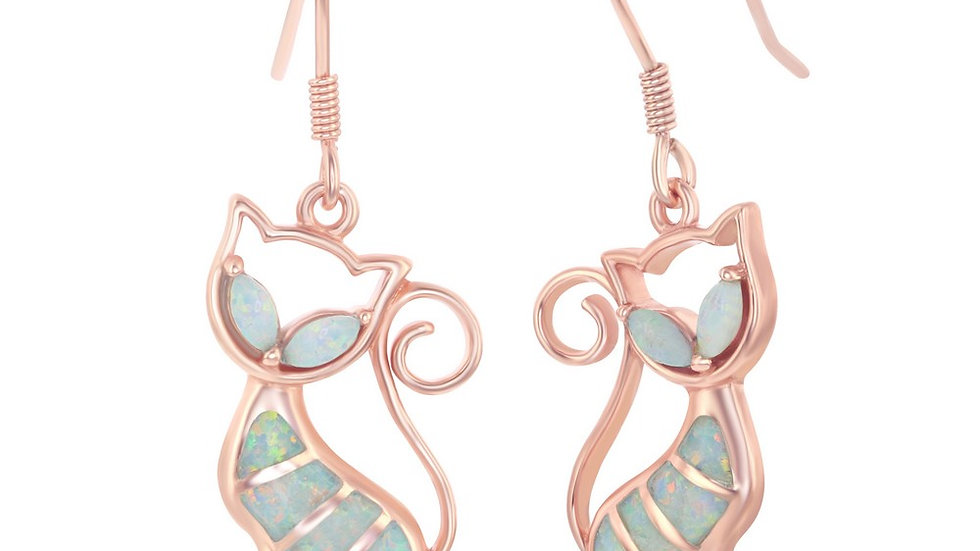 Sterling Silver White Inlay Opal Cat Earrings - Rose Gold Plated