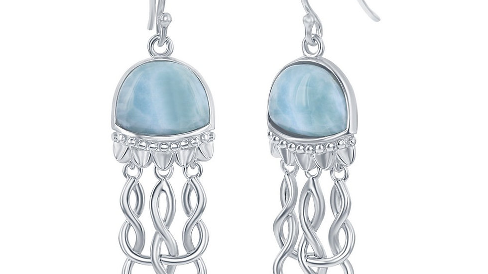 Sterling Silver Jellyfish Larimar Earrings